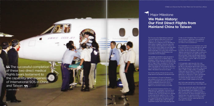 Double-page spread from 'East to West', the International SOS 30th anniversary book
